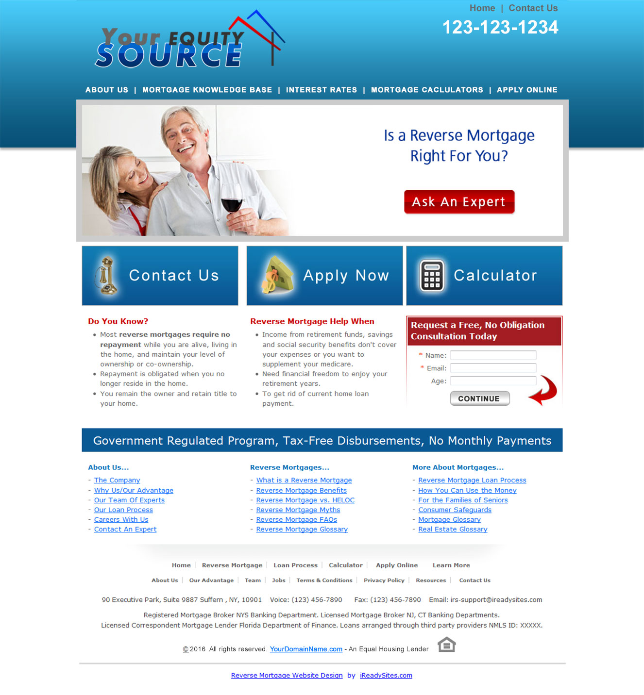 Reverse Mortgage Website Templates - Mortgage website templates