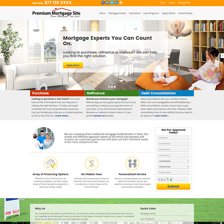 Superb Commercial Mortgage Website Design  Mortgage Templates