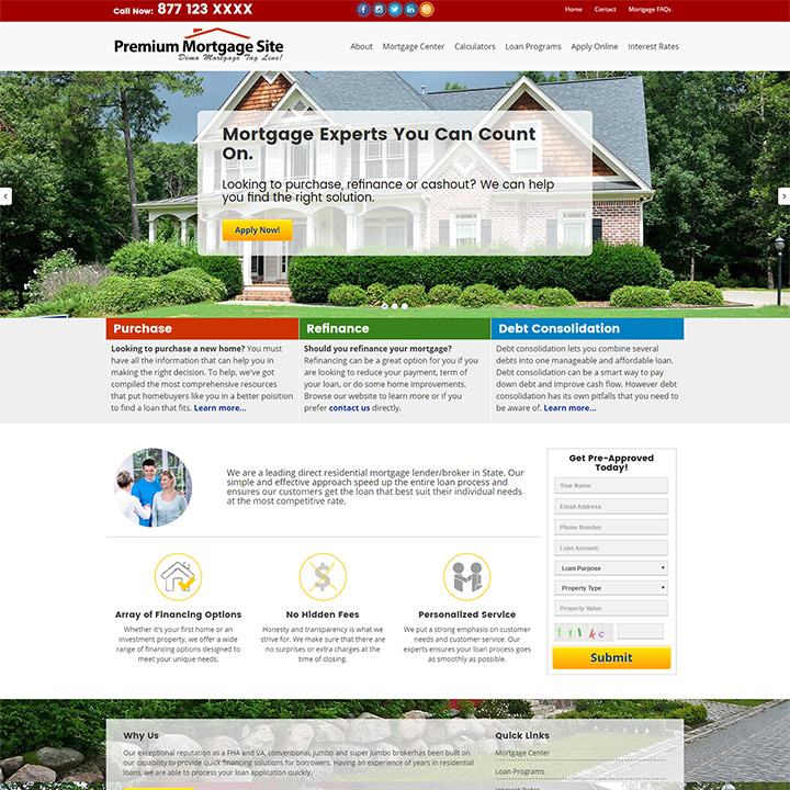 Residential Mortgage Website Templates - Mortgage website templates
